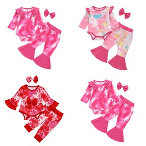 kids clothes girls outfits infant Tie dye ruffle Tops+Flared pants+Headbands 3pcs sets Spring Autumn Boutique baby Clothing Sets Z1723