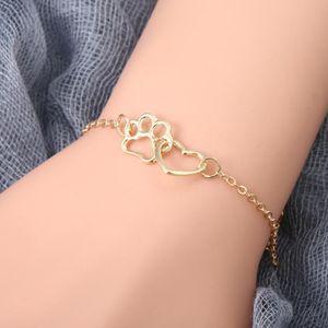 Pegada do encanto do coração pulseira para mulheres na moda do cão Cat Charme Pet Garra do amor do coração Bracelet Bangle tornozeleira jóias