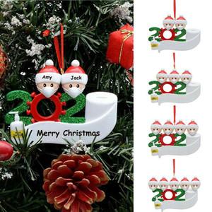Рождество День рождения украшение кулон 2020 Карантин семья из 4 Маски Украшения Pandemic с лицом Рукой Санированной