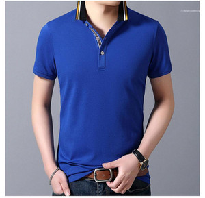 Short Sleeve Colorful Mens Tees Casual Slim Male Clothes Solid Color Summer Mens Polos Lapel Neck