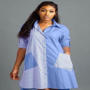 Summer 2020 Lapel Neck Long Sleeve Casual Dresses Fashion striped stitching front short back long shirt dress