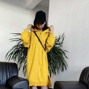 Мода осень зима Zipper Hoodie Толстовка Женщины Длинные пальто вскользь Over Knee Длинные Женщины Hoodie Free Размер Нерегулярные Подол
