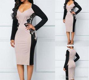 Ropa para Mujer contraste con cuello en V color del remiendo de la cintura delgada Ropa para mujer de la moda de Nueva Moda Vestidos Sexy exclusivo
