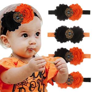 Девушки цветка Hairbands 12 цветов Diamond Перл волос Bands младенца Infant Оголовье Дети головной убор шифон цветок Bebe ювелирных изделий 060818