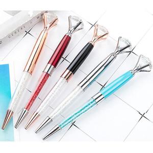 Stylo de cristal métallique grand diamant cristal bille stylos robe d'école Student cadeau cadeau stylo-stylo de bureau Business Signature stylo TQQ BH2536