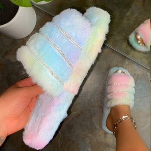 Verão Mulheres Furry Slides pele do falso Slippers Rhinestone Sandals Plush bonito Designer Kawaii Female Chinelos Peep-Toe Sapato Plataforma