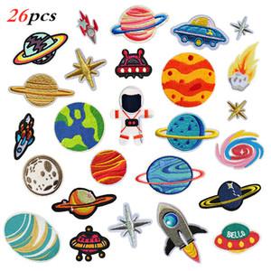 Stickerei-Tuch-Aufkleber Cartoon Astronaut Adhesive Flecken-Tuch-Aufkleber Planet Rakete Universum Garment Applikationen DIY Zubehör VT1485