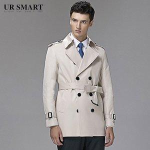 style britannique URSMART authentiques hommes à double boutonnage courte tranchée riz manteau blanc de cultiver de la morale nT1W de #