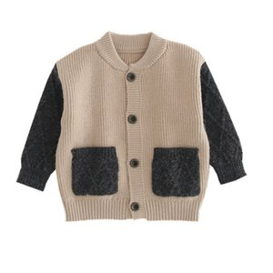 2020 New Autumn Kids Sweaters Boys Girls Cotton Knit Cardigans Baby Children Color Block Cardigan Fashion Children Outwear T200820