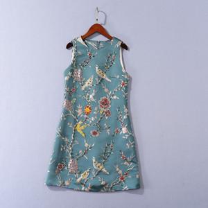 805 2020 Ücretsiz Kargo Sonbahar Bir Çizgi Kolsuz Mürettebat Boyun Hüsniye Moda Flora Baskı Nakış Boncuk Marka Same Stil SH