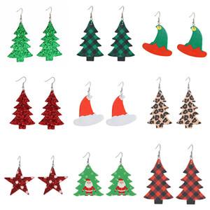 Árvore de Natal PU do Natal do Couro Brincos Snow Man Dangle Earring por Mulheres Bohemian Teardrop brincos moda jóias