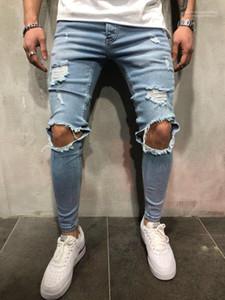 Ripped Jean Pants Hi Street Skateboard Holes Designer Jeans Mens Slim Fit Teenager Boy Hiphop