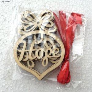 Süsler Noel ampul Şekli Asma Noel Dekorasyon Ahşap Small 6pc Ağacı Süsler Hollow Kalp Kabarcık desen kolye mektupları
