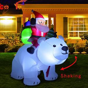 2020 Papá Noel inflable con oso muñeco de nieve inflable Traje fiesta de Navidad del traje de la ropa de Papá Noel de IIA665