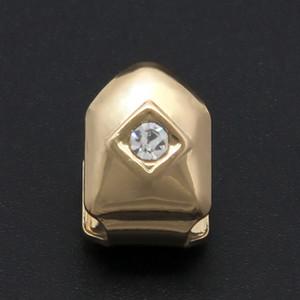 Hip-hop Single gold grills,new style diamante teeth grillz,cheap teeth brace gold diamond grills GR7165028