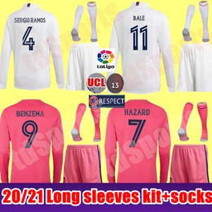 20 21 Real Madrid jersey de fútbol kit hombres mangas largas 2020 2021 SERGIO RAMOS PELIGRO JOVIC VINICIUS BENZEMA MODRIC camisas del fútbol de los uniformes