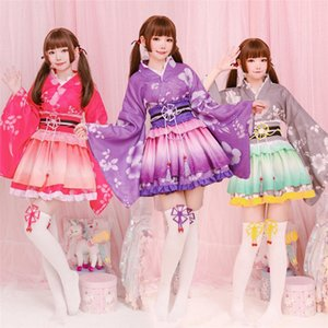 Kadınlar Partisi Yukata Dans Anime Cosplay Kostüm Kimono Japanese Style Kawaii Kız Çiçek Yukata Haori Aşk Canlı Lolita Dr