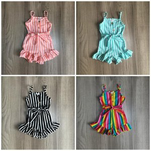 Girlymax girls milk silk halter stripe ruffle Summer cotton baby kids One-piece overall garment suit jumpsuit clothes ruffles X0923