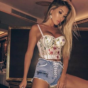 Women Crop Top Sheer Lace Bra Push Up Underwear Underwire Deep V Brassiere Lingerie Sleeveless T Shirt Floral Clothes T shirt