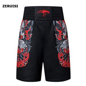 Boxe Academia culturismo masculino Shorts respirável Quick Dry Luta calças Sanda competição do treinamento Sports Muay Thai shorts de treino