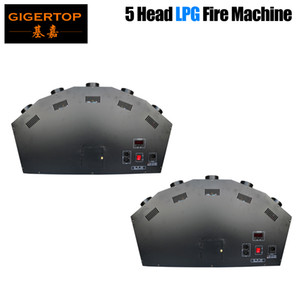 2 X 부지 뉴 5 헤드 LPG 단계 화재 기계 디스코 화염 기계 3M 높이 다채로운 LPG 선 화염 효과 컨트롤러 DMX 화재 기계