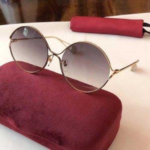 Qualtiy superior de ida y estructura de metal gafas de sol de las mujeres Gafas de sol redondas del metal del estilo de la vendimia Gafas de sol de alta calidad de la estrella con la caja-GSH 0253