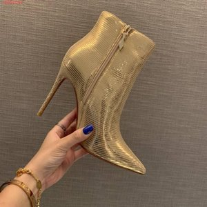 fashion and contracte luxury designer tip gold and silver metal textured ankle boots 100% leather high heel fashion boots high quality heels