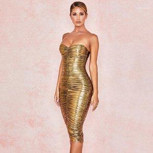 Без бретелек Плиссированных женщин конструктора платья Повседневной моды Благородная одежда для женщин Разреза шеи Золотого Womens платья лета