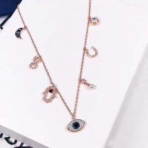 Hamsa of Eye Demon الفولاذ قلادة قلادة قلادة اللون الصلب التيتانيوم ارتفع الذهب سلسلة اليد العصرية النساء المجوهرات هدية foxtw