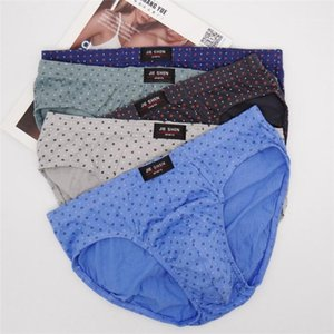 Male Daily Underwear Mens Breathable Mid Waist Underpants Polka Dot Plus Size Casual Comfortable Briefs
