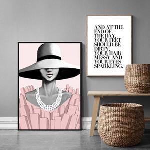 Moda mujer moda pintura de la lona carteles y moderna Pop Art para paredes foto cartel citar para decoración para sala de estar por casa.