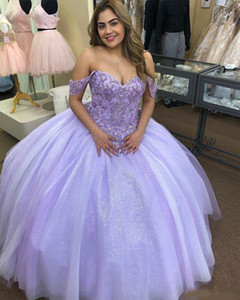 Lavender Tulle 2021 Lace Beaded Cheap Quinceanera Prom Dresses Ball Gown Sweetheart Tulle Sexy Evening Party Sweet 16 Dress