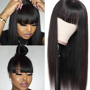 Pelucas de cabello sintético virgen brasileño con flequillo limpio Ninguno de las pelucas frontales de encaje sin encaje Máquina ilelada Hecho de peluca Resistente al calor Mujeres negras largas