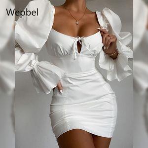 Square Collar vestido de la manga de Bell informal WEPBEL Moda delgado corte ajustado vestido de las mujeres femeninas de alta cintura blanca ajustada Mini
