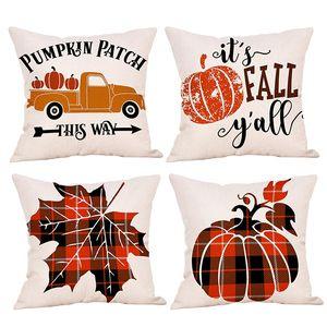 Covers Happy Thanksgiving Day Pillow Decoração da queda de linho Throw Pillow Caso inicial do carro capas de almofada 45 * 45 centímetros T3I51164