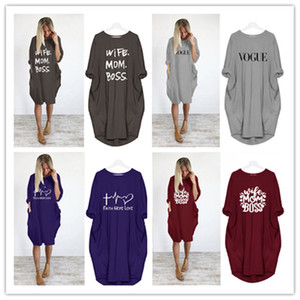 Kadınlar Yaz Günlük Elbise Artı boyutu Giyim Anne Karı Boss Lady Gevşek dizayn edilmiş elbiseler 4XL 5XL Giyim Pockets