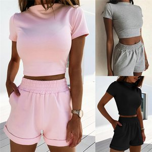 Мода 2020 Новый женский короткий рукав футболки Crop Top высокой талией Шорты Брюки 2 шт Set Summer Soft Pure Color костюм