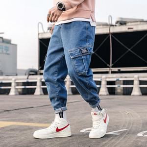 Streetwear Blue Jeans Pantalons Hommes 2020 Hommes poches cargo Hip Hop Salopette Pantalon Denim Homme en vrac Mode Harem