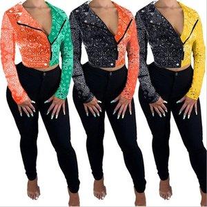 Womens giacca Autunno Bandana Stampa Patchwork Zipper Up manica lunga Moto Biker Casual Stlye Streetwear Giacche