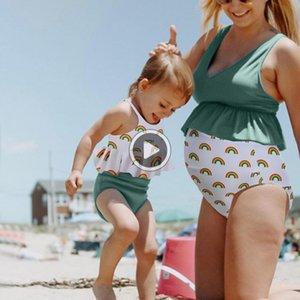 Le donne incinte di maternità Tankinis Stampa increspature Bikini Swimsuit Sexy Ladies Arcobaleno Stampa Split Ruffle Maternità costume da bagno
