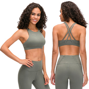 Sexy ladies 2020 new LU-22 pull high round neck sports underwear female cross beauty back gather running yoga fitness quick dry dance clothe