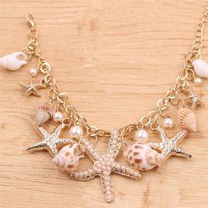 2020 Hot venda Oceano Estilo Pulseira multi Starfish Sea Star Conch Shell pérolas Cadeia Praia Bangle novidade férias Acessórios