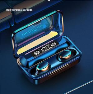 F9 TWS Bluetooth наушники 5,0 Беспроводные наушники наушники Сенсорное управление Наушники стерео Premium Sound Универсальный спортивный гарнитура LED Display