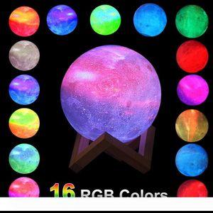 Ev Noel Dekorasyon Yıldız Ay Lambası LED Gece Işığı 16Color Değişim Yatak Masa Danışma Başucu Lambaları USB Led Nightlight yazdır 3D