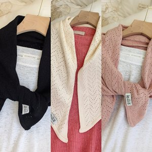 knitted Spring and Summer scarf solid color hollow warm Shawl scarf LBBm7 shawl new Korean style dual-use women's autumn and winter tri semPi