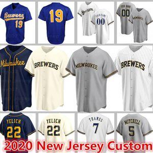 Personalizado Milwaukee Brewers Jerseys 22 Christian Yelich Baseball 5 Garrett Mitchell 19 Robin Yount 7 Eric Thames 8 Ryan Braun 42 Jackie Robinso