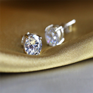Simple Fashion Jewelry Stunning Real 925 Sterling Silver Round Cut White Topaz CZ Diamond Gemstones Party Women Wedding Bridal Stud h0210