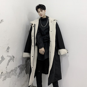 M-XL! Winter dark lamb personality stand collar thick cotton clothing fashion men's wear loose coat coat