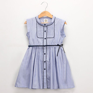 Excelent Clearance New summer babys Dress Toddler Kid Baby Girl Outfits Clothes Stripe Button Party Pageant Princess Dress Z0207