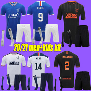 Männer Kids Kit 2020 Glasgow Rangers FC Gerrard Soccer Jerseys 2020-2021 Glasgow Rangers Defoe Dauis Home Away 3rd Football Hemden
